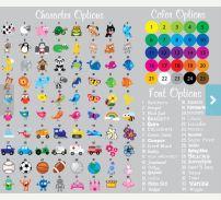 Puedes elegir el diseño y el color y armar tu paquete de etiquetas.