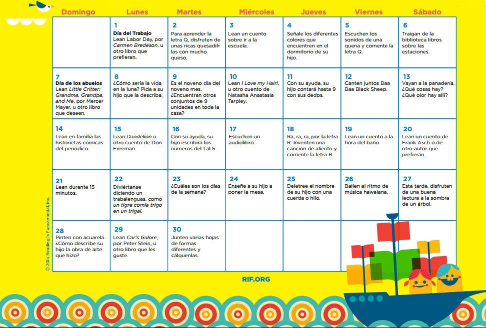 Calendario con ideas y actividades para fomentar la lectura en casa
