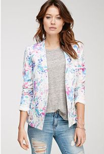 Watercolor Floral Print Blazer $29.90