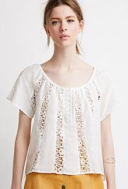 Crochet-Paneled Peasant Top